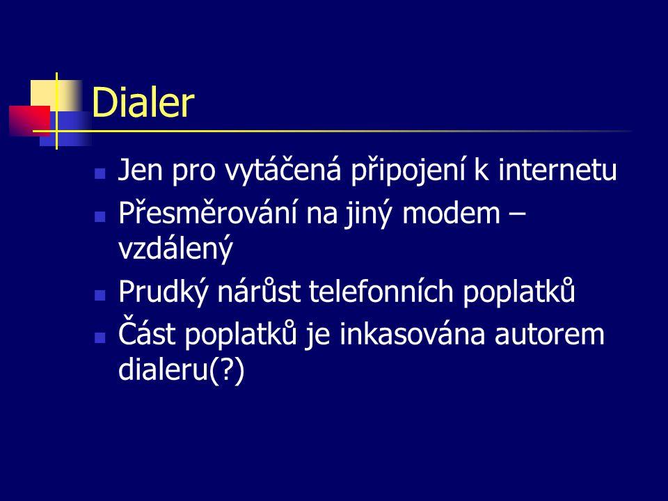 Dialer Jen pro vytáčená připojení k internetu