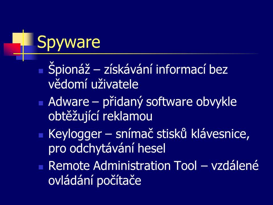 Spyware Špionáž – získávání informací bez vědomí uživatele