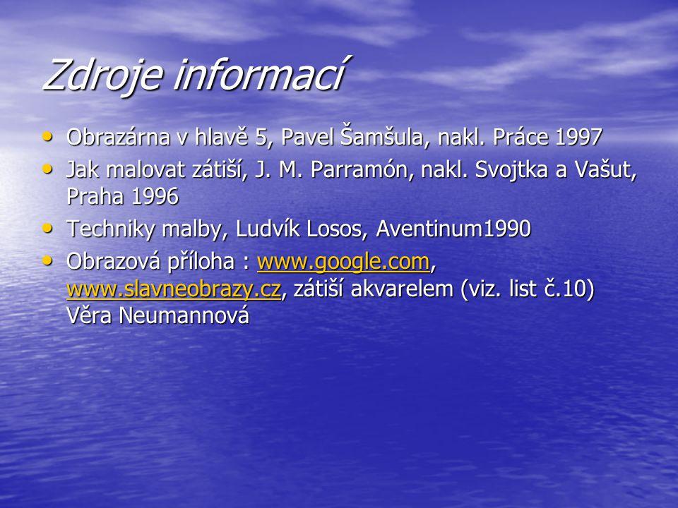 Zdroje informací Obrazárna v hlavě 5, Pavel Šamšula, nakl. Práce 1997