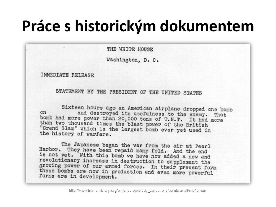 Práce s historickým dokumentem