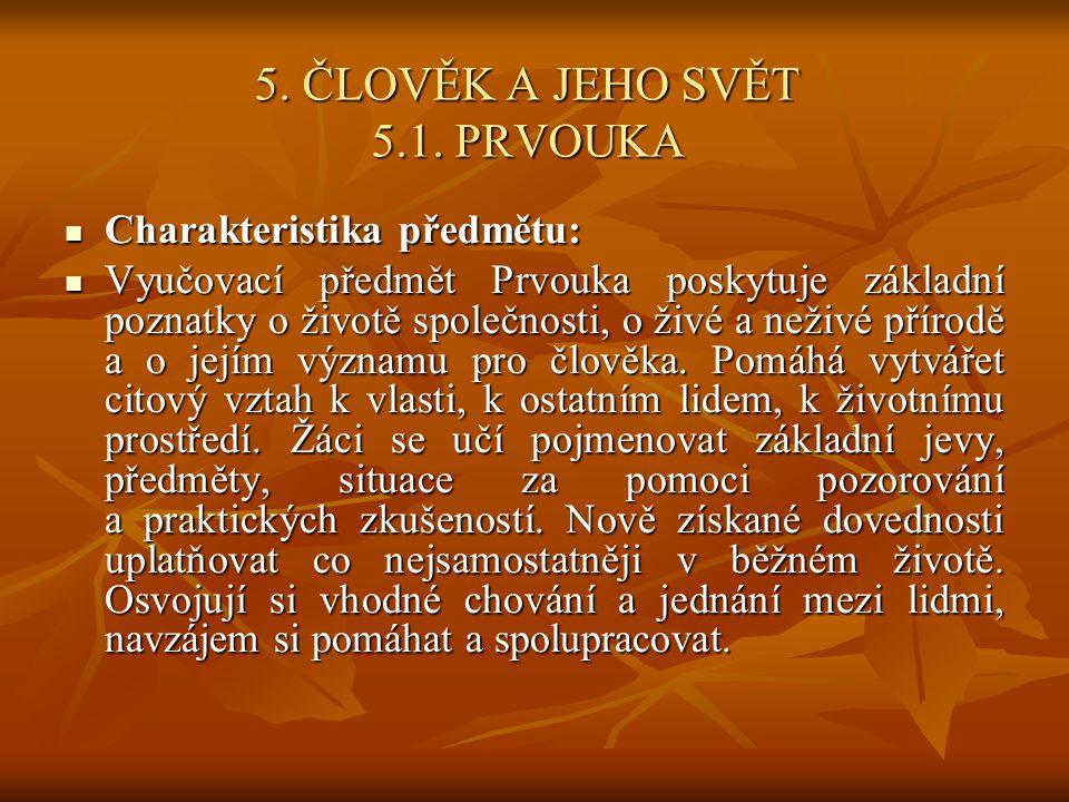 5. ČLOVĚK A JEHO SVĚT 5.1. PRVOUKA