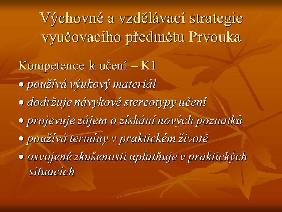 Výchovné a vzdělávací strategie vyučovacího předmětu Prvouka