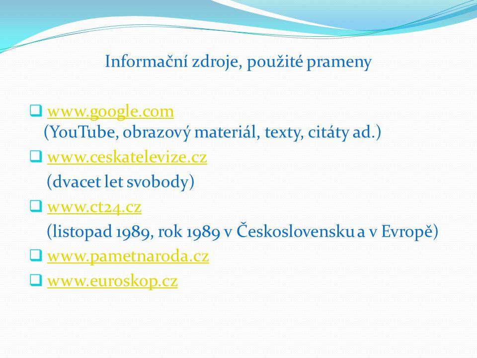 Informační zdroje, použité prameny