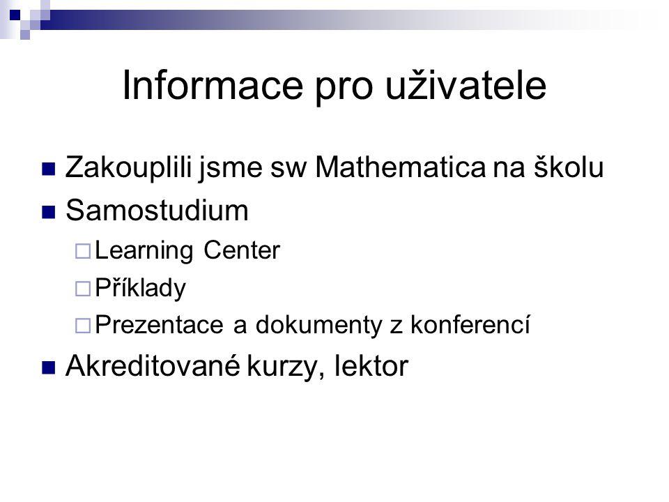 Informace pro uživatele