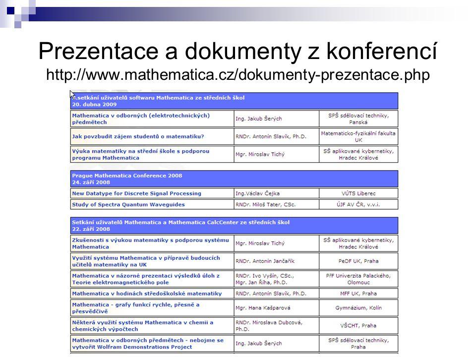 Prezentace a dokumenty z konferencí http://www. mathematica