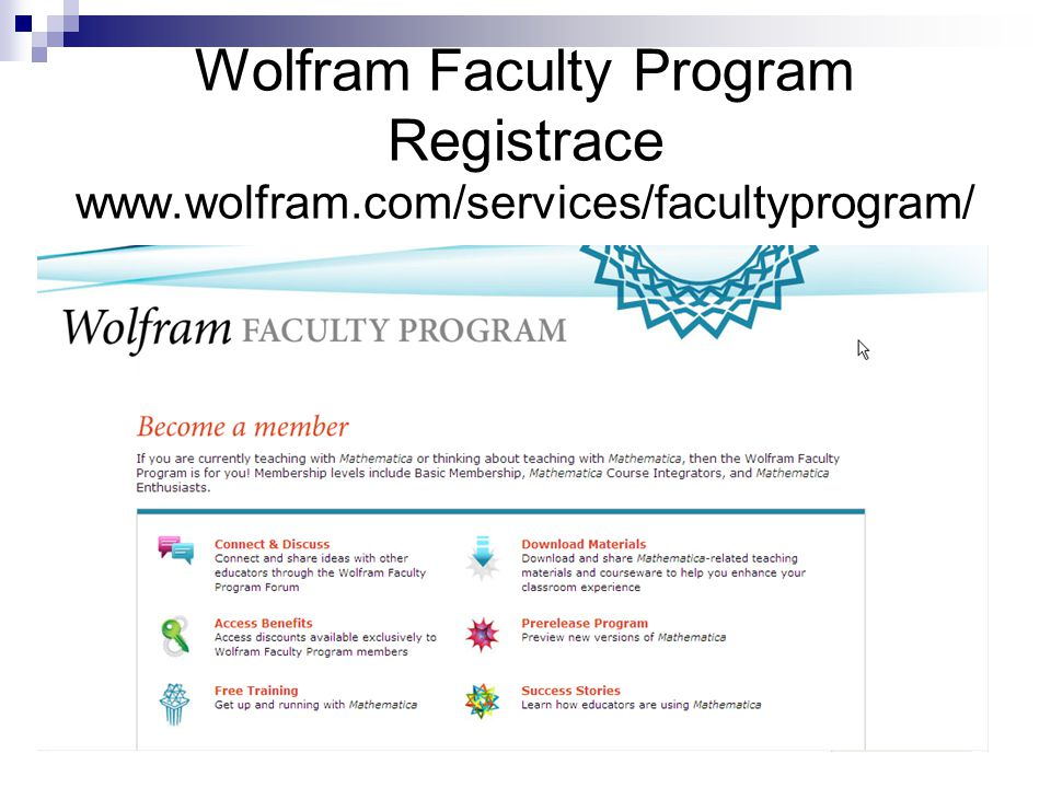 Wolfram Faculty Program Registrace www. wolfram