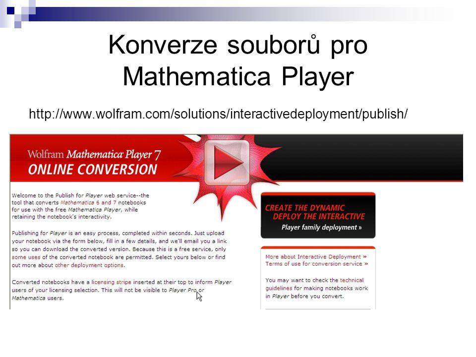 Konverze souborů pro Mathematica Player