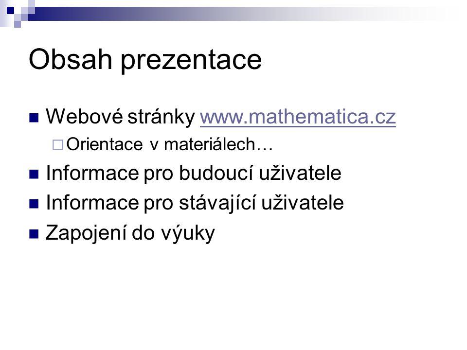 Obsah prezentace Webové stránky www.mathematica.cz