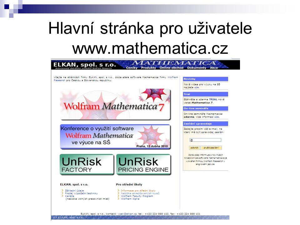 Hlavní stránka pro uživatele www.mathematica.cz