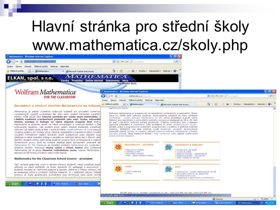 Hlavní stránka pro střední školy www.mathematica.cz/skoly.php