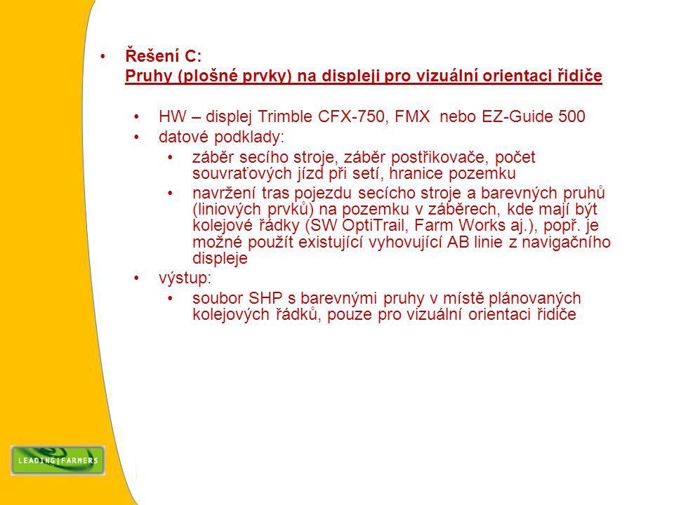 Řešení C: Pruhy (plošné prvky) na displeji pro vizuální orientaci řidiče. HW – displej Trimble CFX-750, FMX nebo EZ-Guide 500.