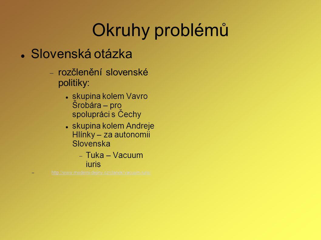Okruhy problémů Slovenská otázka rozčlenění slovenské politiky: