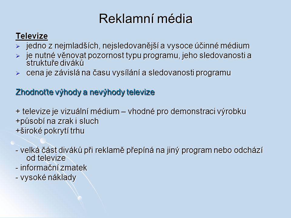 Reklamní média Televize