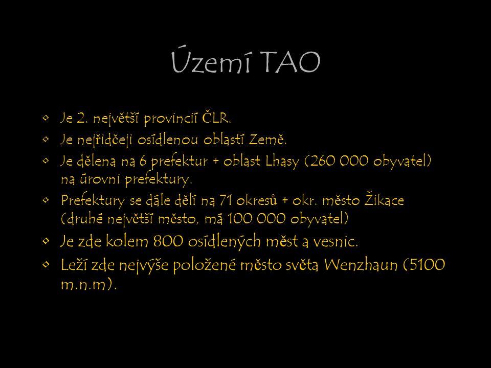 Území TAO Je zde kolem 800 osídlených měst a vesnic.