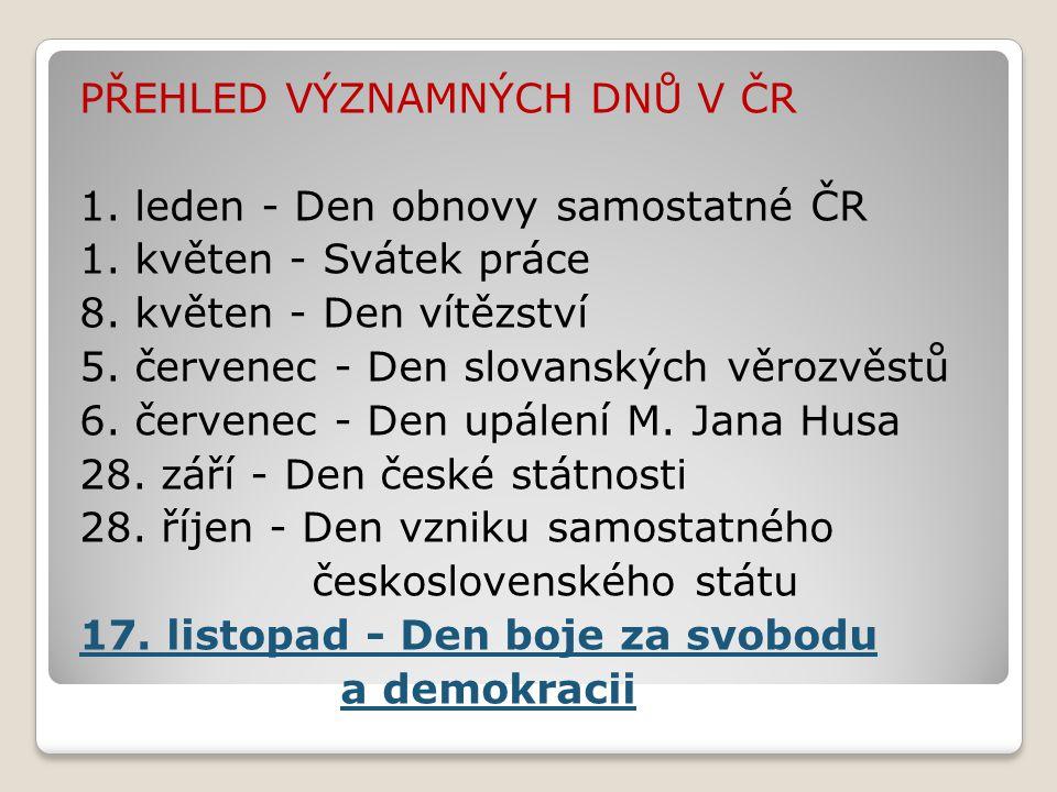 PŘEHLED VÝZNAMNÝCH DNŮ V ČR 1. leden - Den obnovy samostatné ČR 1