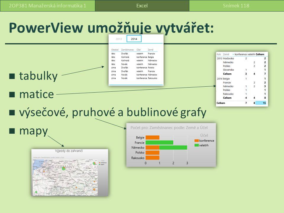 PowerView umožňuje vytvářet: