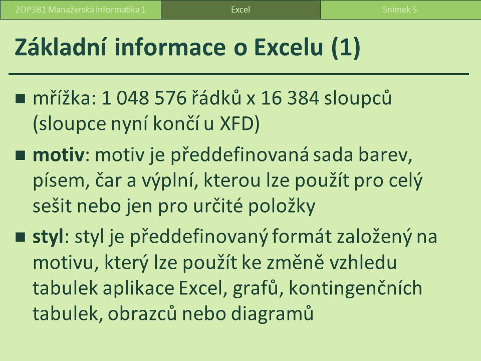 Základní informace o Excelu (1)
