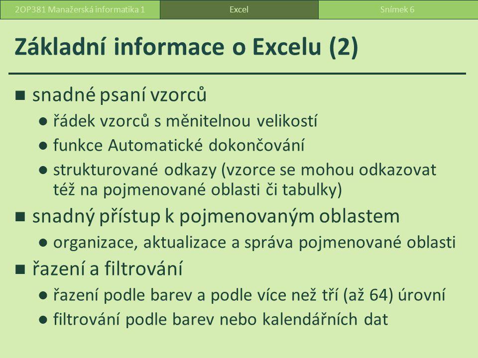 Základní informace o Excelu (2)