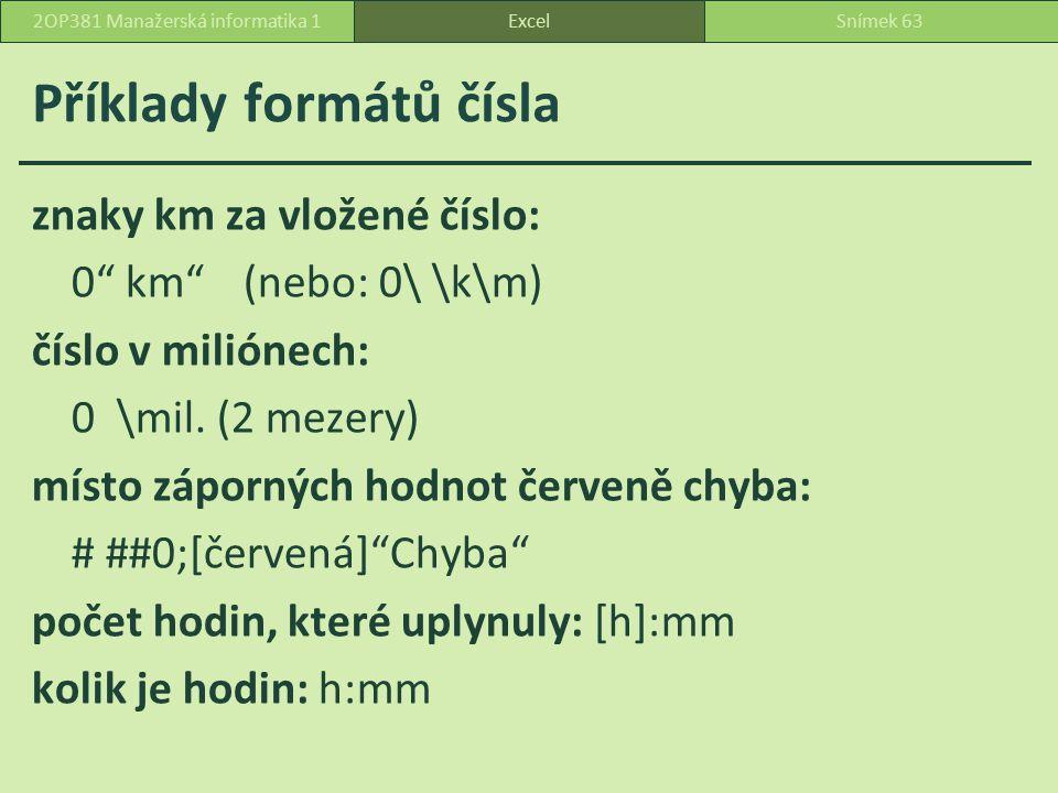 Příklady formátů čísla