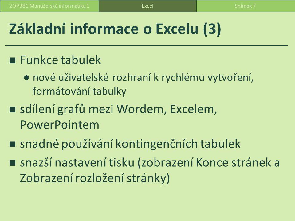 Základní informace o Excelu (3)