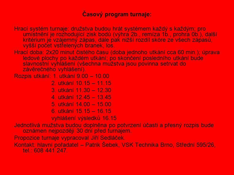 Časový program turnaje: