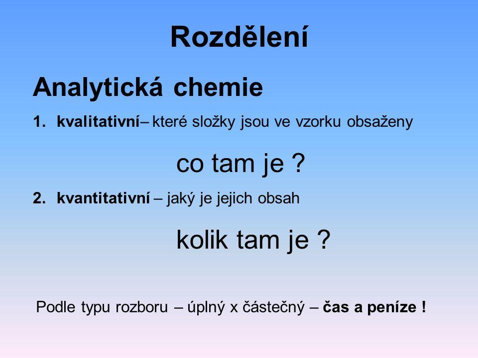 Rozdělení Analytická chemie