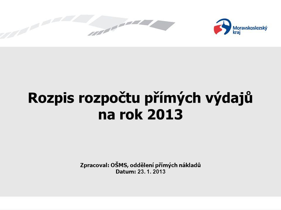 Rozpis rozpočtu přímých výdajů na rok 2013