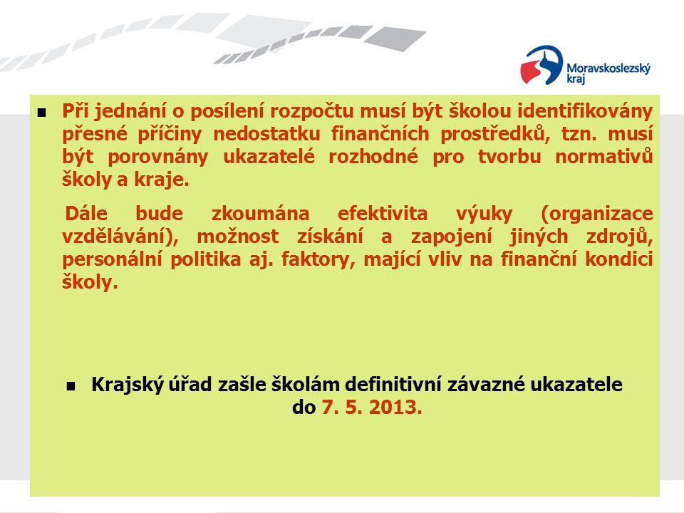 Krajský úřad zašle školám definitivní závazné ukazatele do 7. 5. 2013.