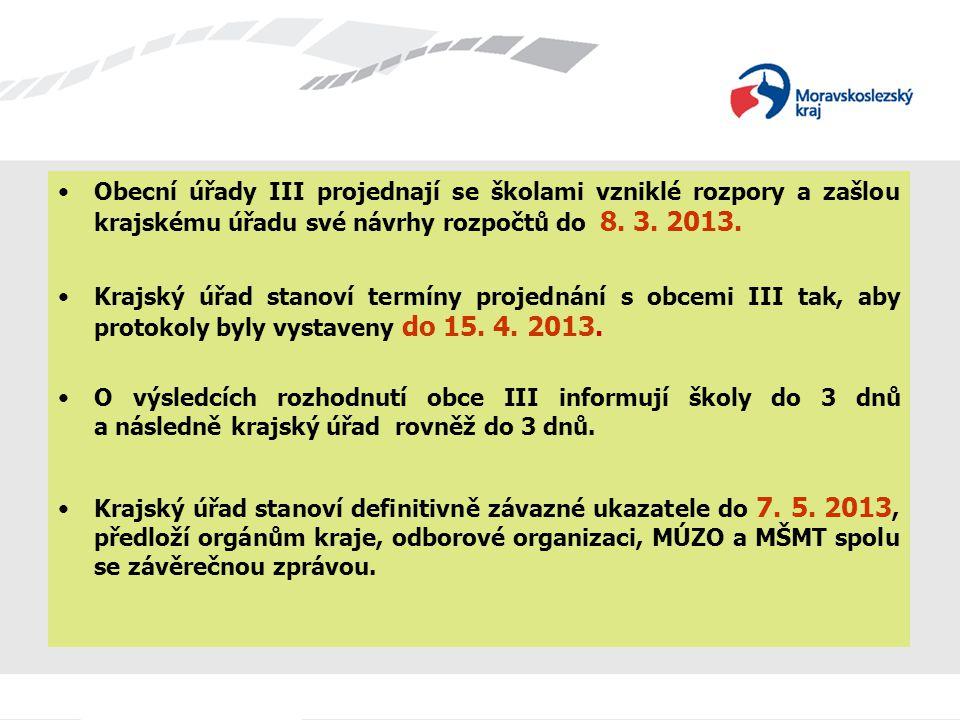 Obecní úřady III projednají se školami vzniklé rozpory a zašlou krajskému úřadu své návrhy rozpočtů do 8. 3. 2013.