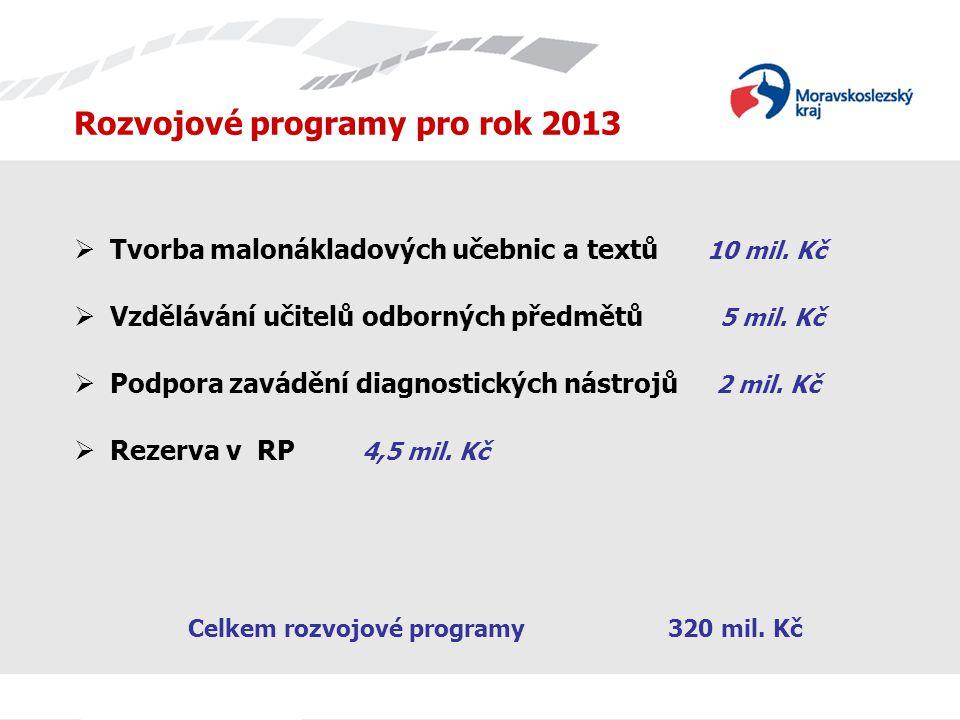 Rozvojové programy pro rok 2013