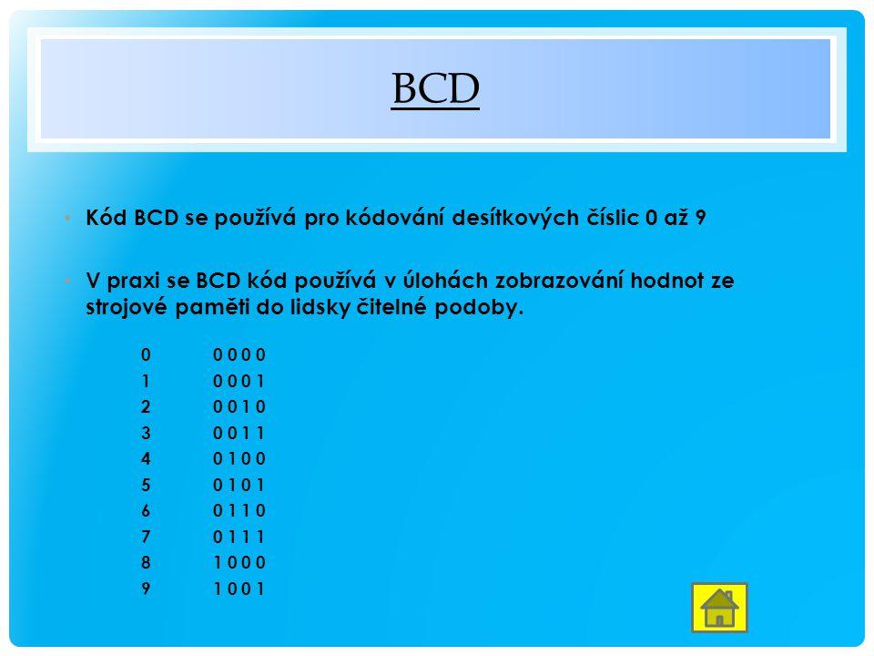 BCD Kód BCD se používá pro kódování desítkových číslic 0 až 9