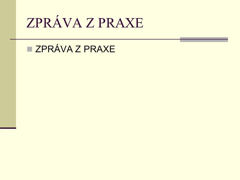 ZPRÁVA Z PRAXE ZPRÁVA Z PRAXE