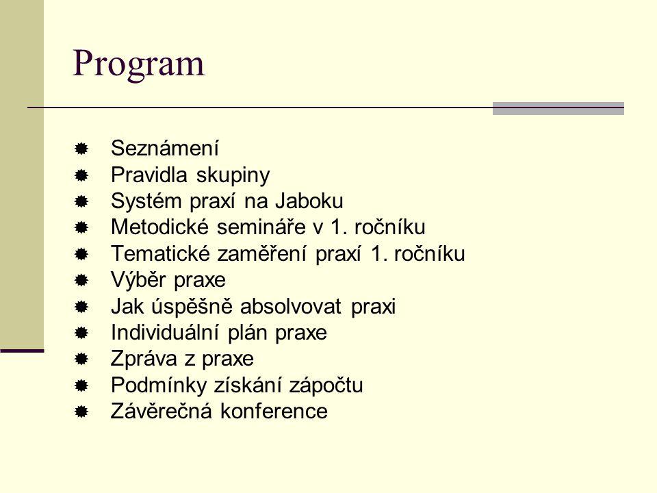 Program Seznámení Pravidla skupiny Systém praxí na Jaboku