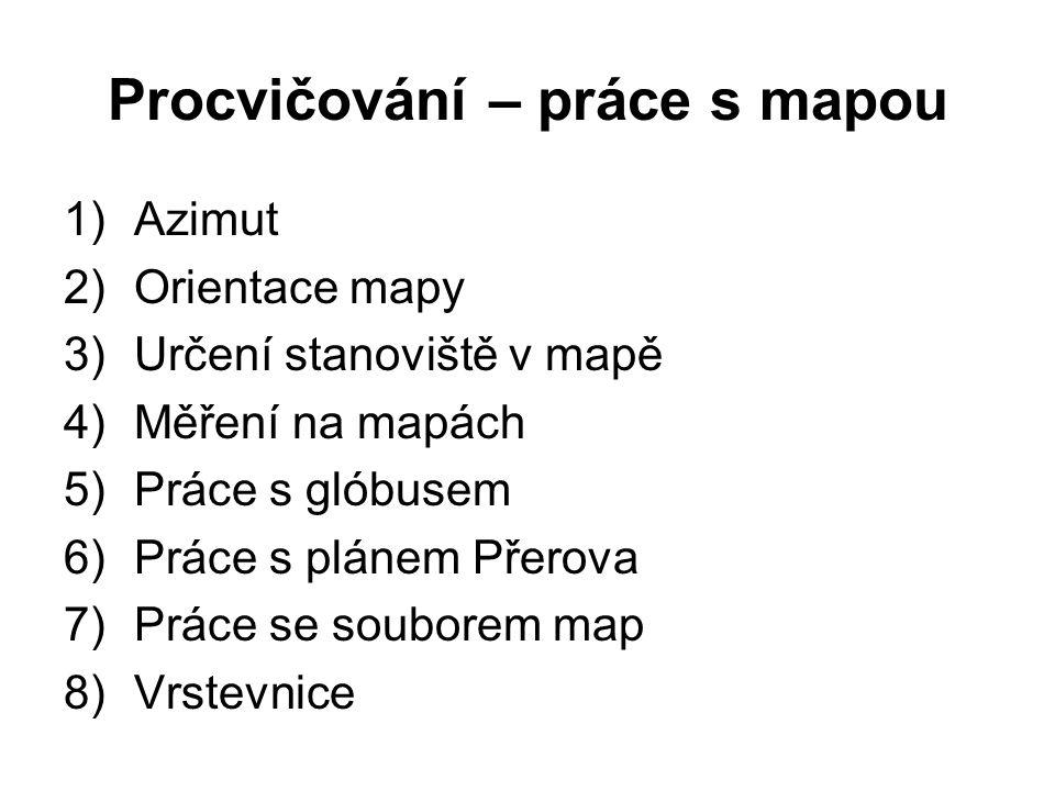 Procvičování – práce s mapou