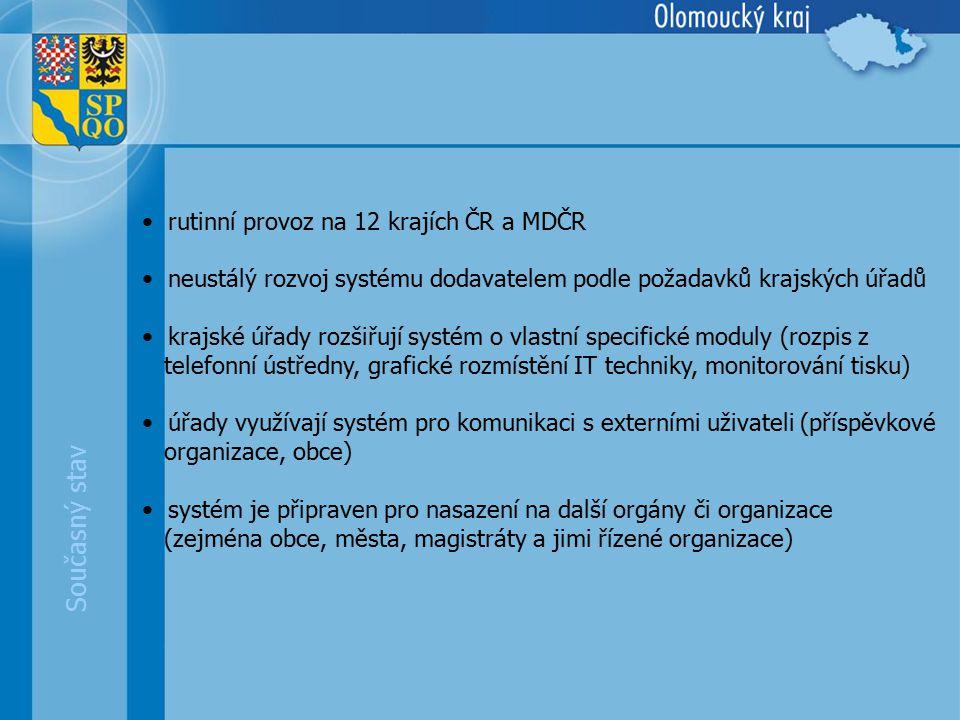 Současný stav rutinní provoz na 12 krajích ČR a MDČR