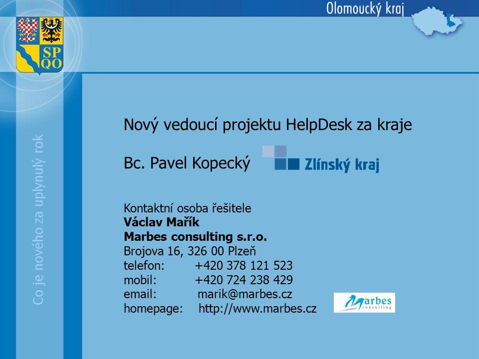 Nový vedoucí projektu HelpDesk za kraje Bc. Pavel Kopecký