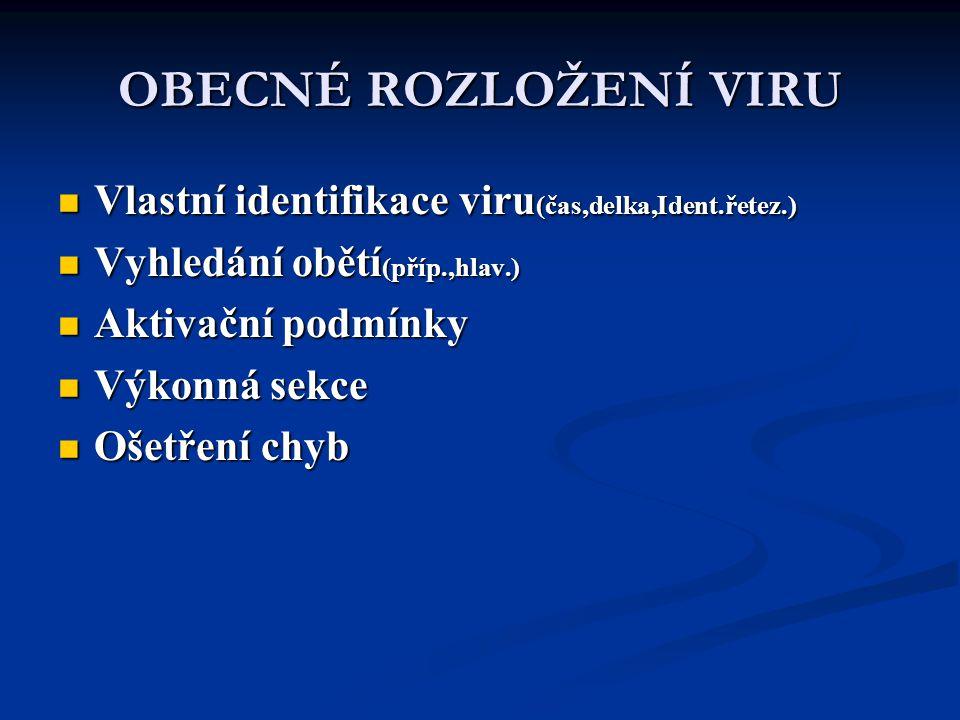 OBECNÉ ROZLOŽENÍ VIRU Vlastní identifikace viru(čas,delka,Ident.řetez.) Vyhledání obětí(příp.,hlav.)