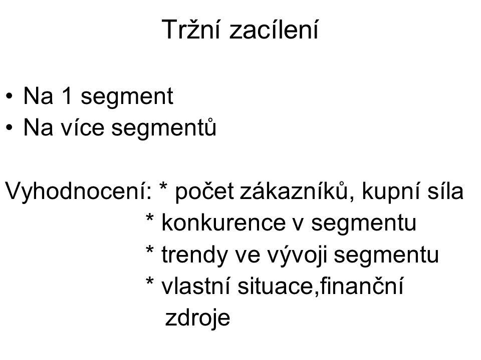 Tržní zacílení Na 1 segment Na více segmentů
