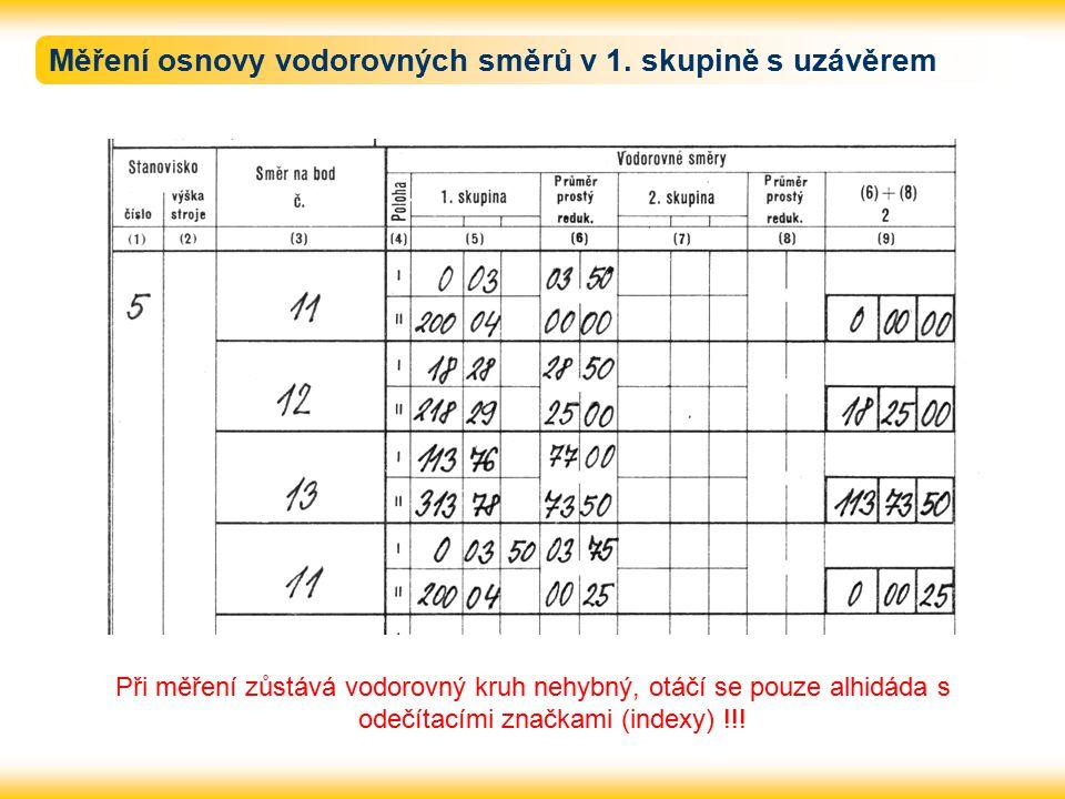 Měření osnovy vodorovných směrů v 1. skupině s uzávěrem