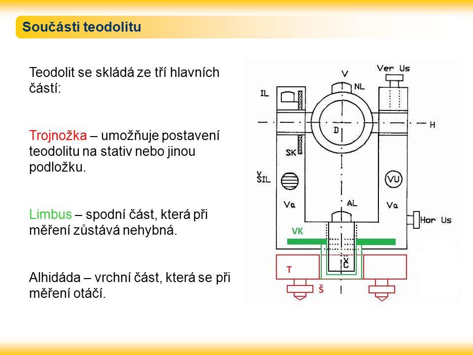 Součásti teodolitu Teodolit se skládá ze tří hlavních částí: