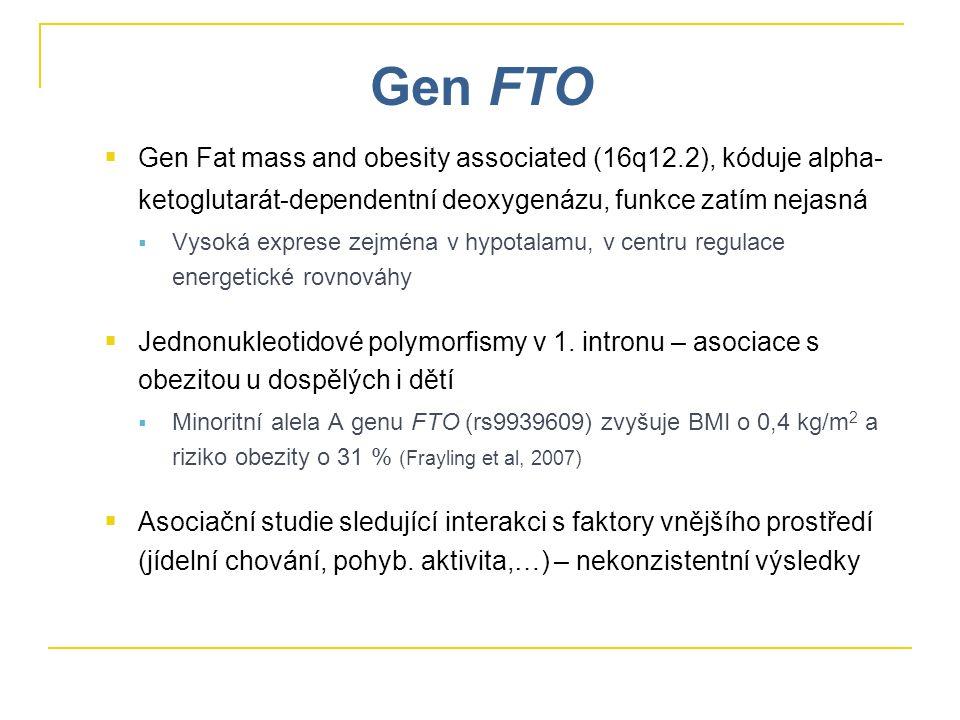 Gen FTO Gen Fat mass and obesity associated (16q12.2), kóduje alpha-ketoglutarát-dependentní deoxygenázu, funkce zatím nejasná.