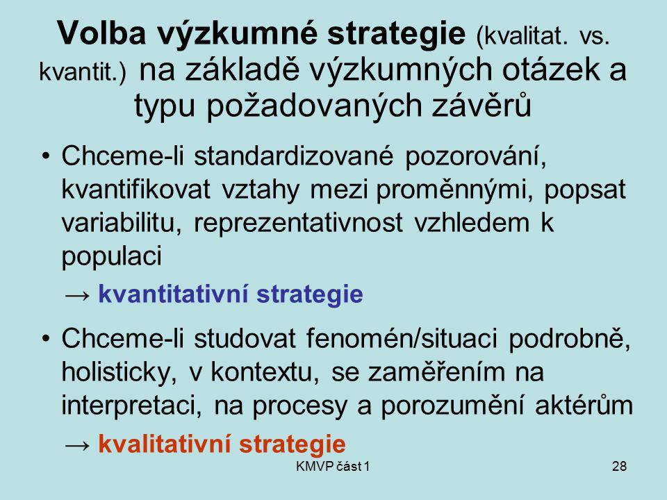 Volba výzkumné strategie (kvalitat. vs. kvantit