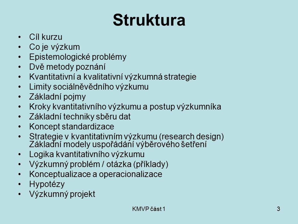 Struktura Cíl kurzu Co je výzkum Epistemologické problémy