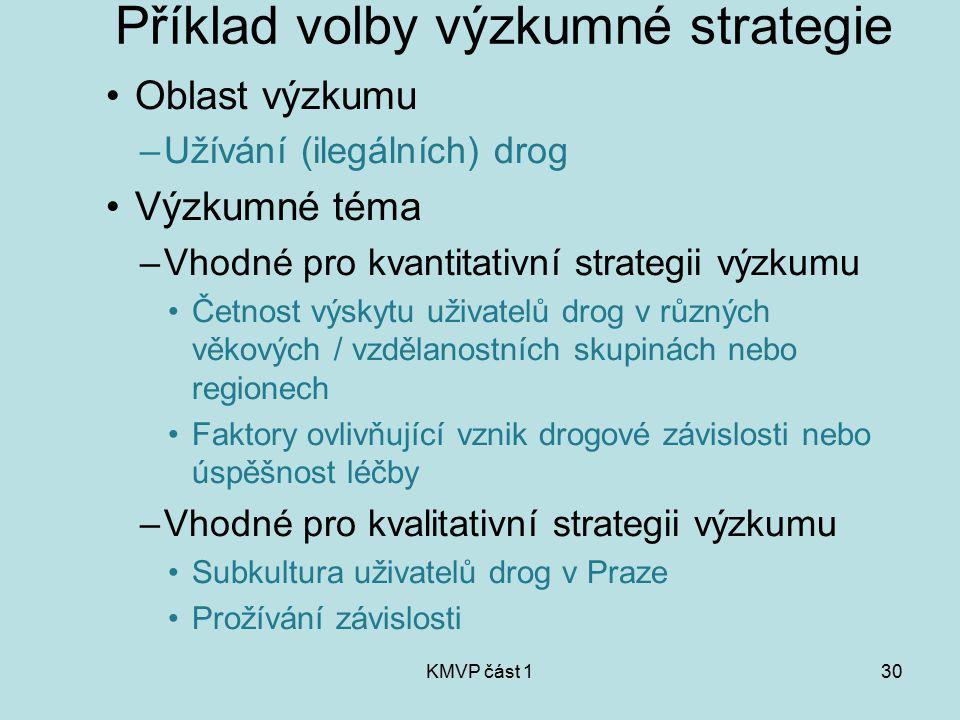 Příklad volby výzkumné strategie
