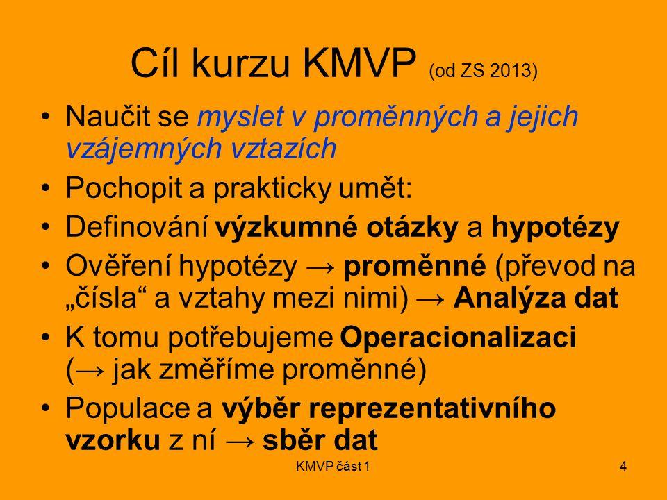 Cíl kurzu KMVP (od ZS 2013) Naučit se myslet v proměnných a jejich vzájemných vztazích. Pochopit a prakticky umět: