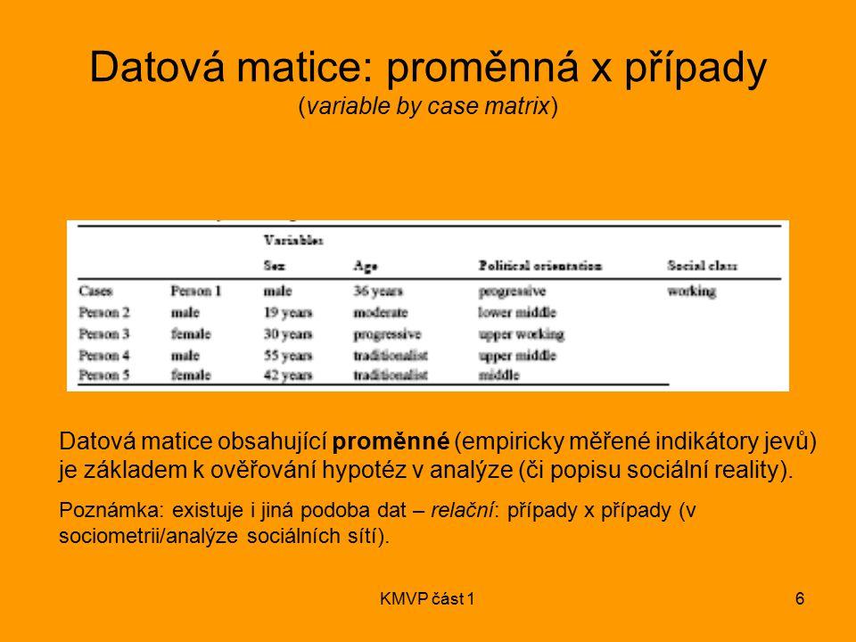 Datová matice: proměnná x případy (variable by case matrix)