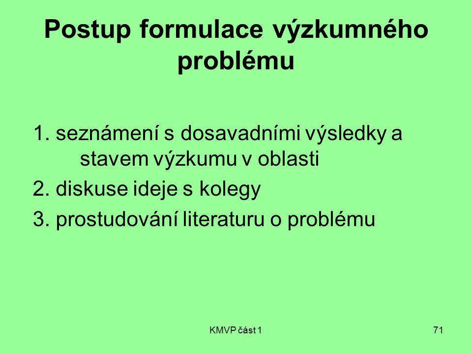 Postup formulace výzkumného problému