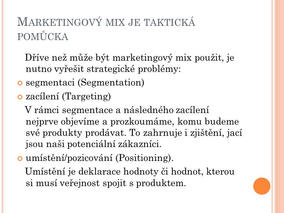 Marketingový mix je taktická pomůcka