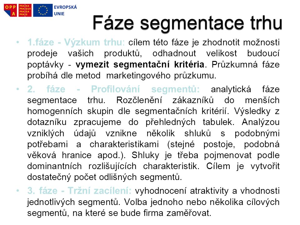 Fáze segmentace trhu