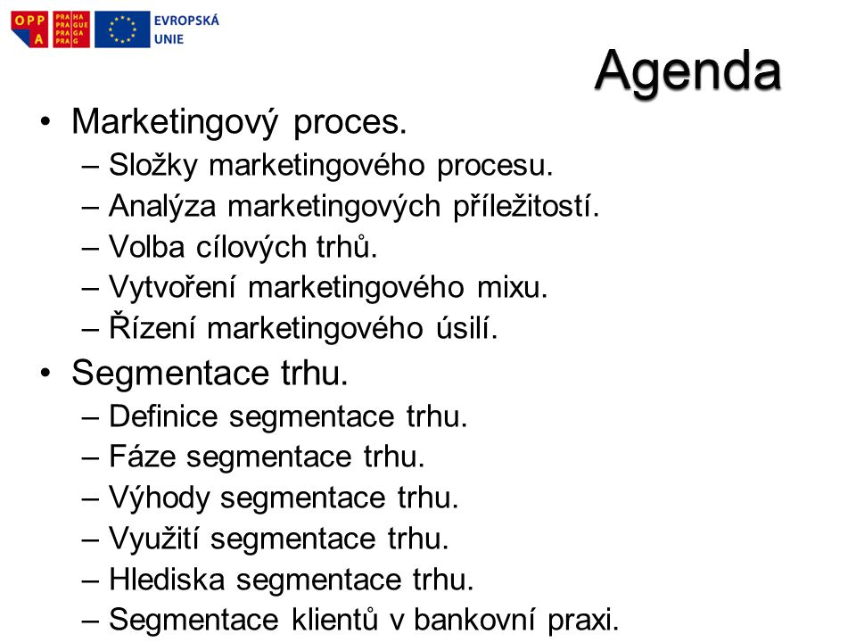 Agenda Marketingový proces. Segmentace trhu.